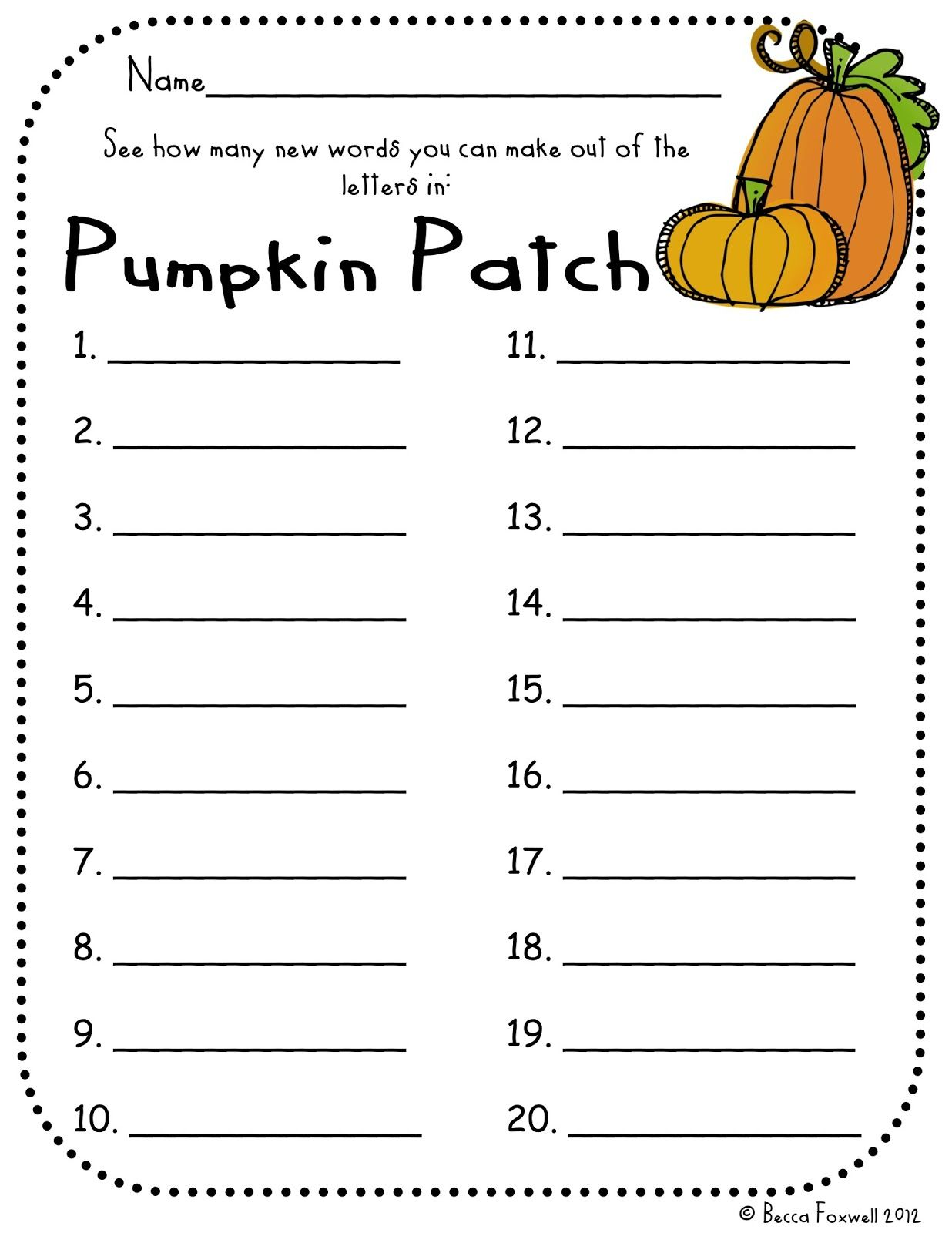 Pumpkin Patch Word Building Freebie