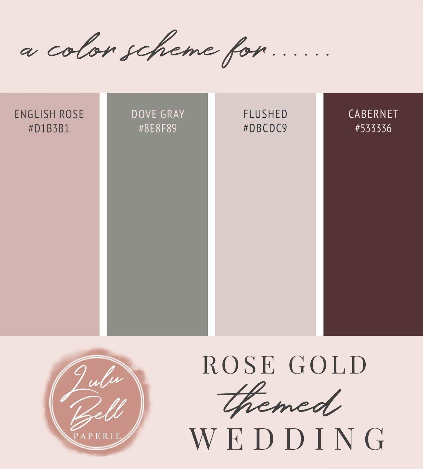 Rose Gold Wedding Theme Color Palette Scheme A Rose Gold Wedding Color Palette Scheme C Rose Gold Color Palette Wedding Rose Gold Theme Gold Wedding Colors