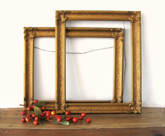 Antique Ornate Gold Frames, Pair of Matching Large Gold Gesso Frames ...