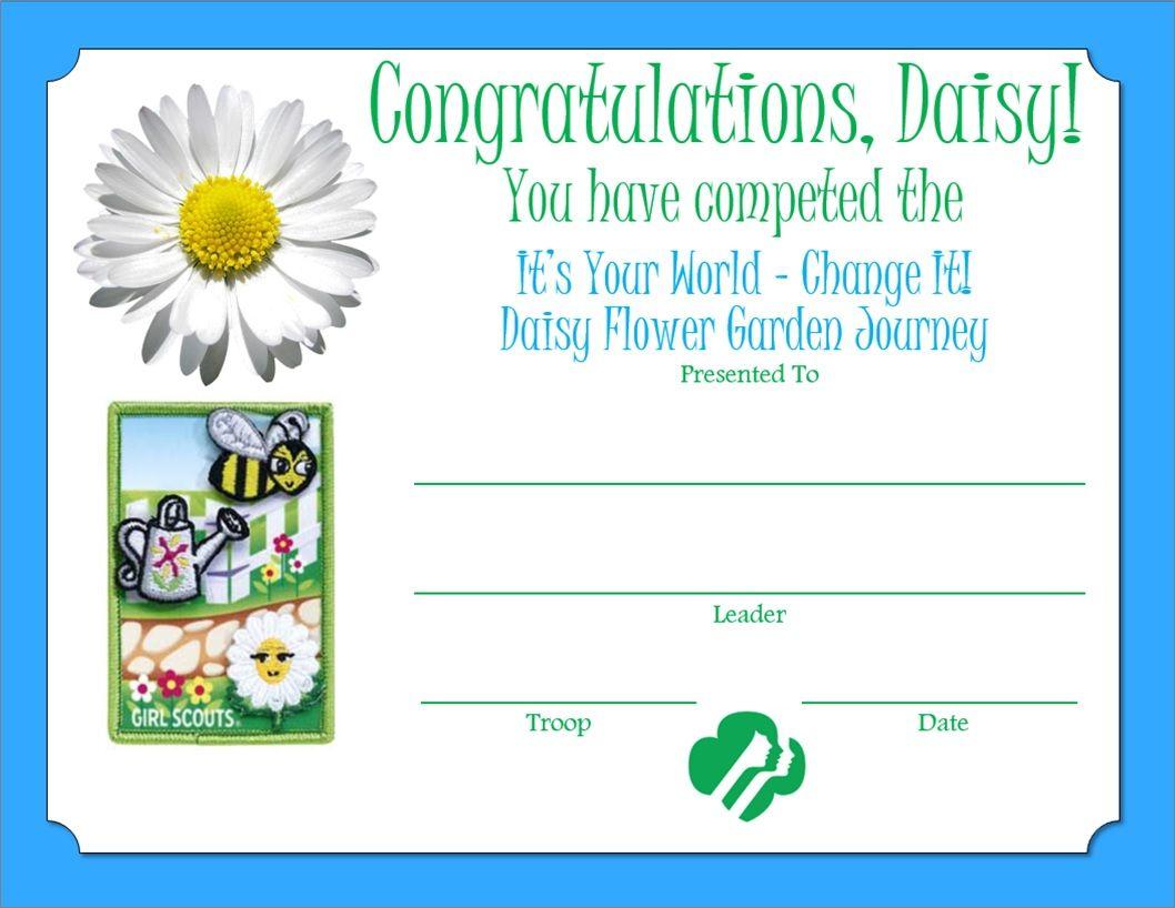 Daisy flower garden journey certificate girl scout badges daisy girl scout crafts daisy flower garden journey certificate izmirmasajfo