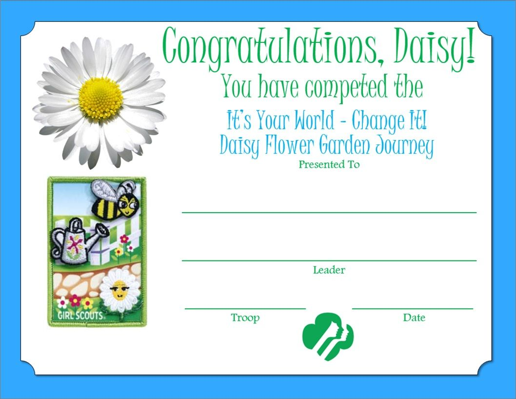 Daisy Flower Garden Journey Certificate
