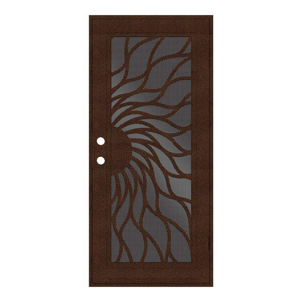 Unique Home Designs 36 in. x 80 in. Sunfire Copperclad Right-Hand Surface Mount Aluminum Security Door with Black Perforated Screen, Powder-Coat Copperclad