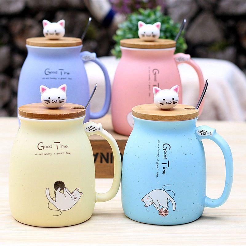Best Cartoon Ceramics Cat Mug With Lid Spoon And Handle Coffee Milk Tea Mugs New Cplife Peralatan Makan Alat Makan Lucu