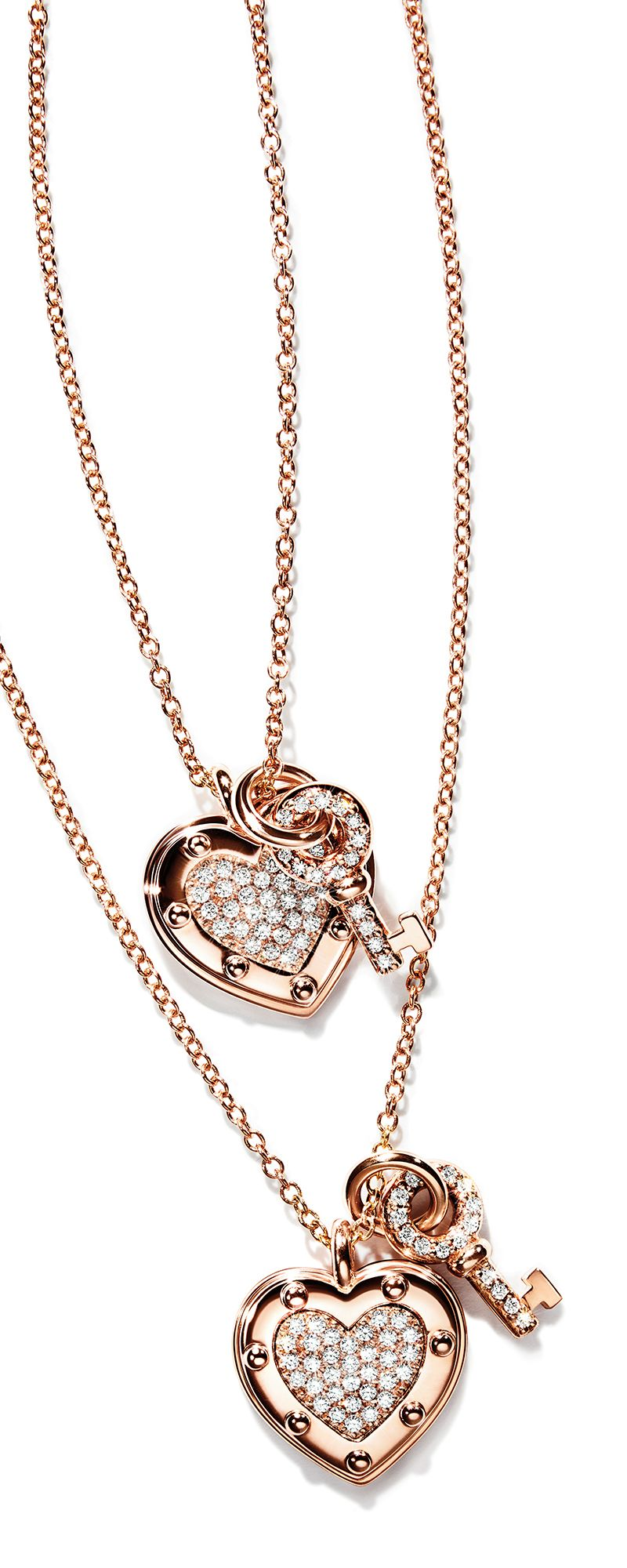 ee43b3fcf Return to Tiffany® Love heart tag key pendants in 18k rose gold with  diamonds.