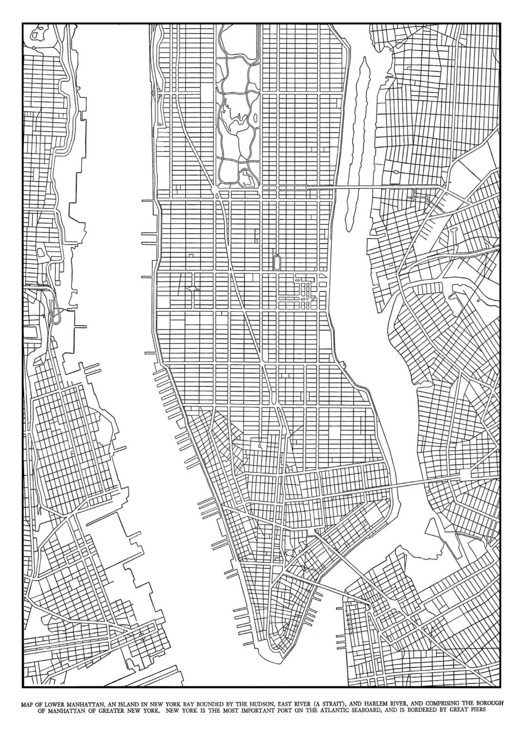 New York Map Black And White.New York City Map Black And White