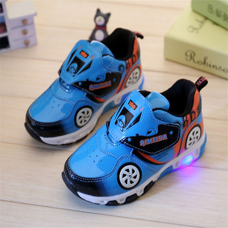 Cool Hot Fashion Kids Sneakers Boys Cartoon Car Children Shoes With Light Up Toddler Boys Shoes Size 23 32 B Toddler Boy Shoes Kid Shoes Kids Shoe Stores