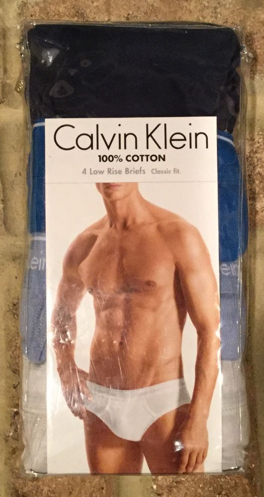 5a882f5853d9 4 pack CALVIN KLEIN mens XL LOW RISE Briefs SEXY fly Grey Blues 100% COTTON  LOT #CalvinKlein #Brief