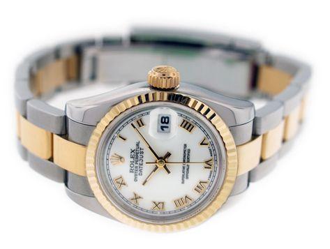 Rolex ladies Datejust White Roman Dial Fluted Bezel Oyster Bracelet