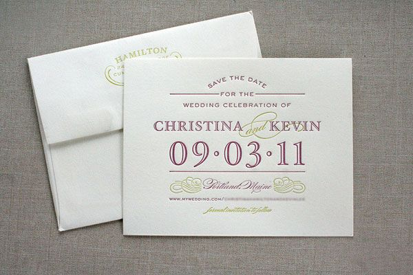 Letterpress Typography, Save-the-Dates, fuschia font  BEST DAY - best of wedding invitation design fonts