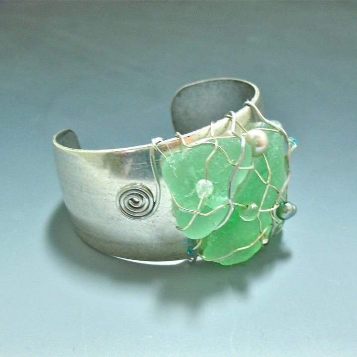 #Seaglass #Cuff Antique finish from ODONATA SEAGLASS CREATIONS BY EILEEN CLARK for $60.00