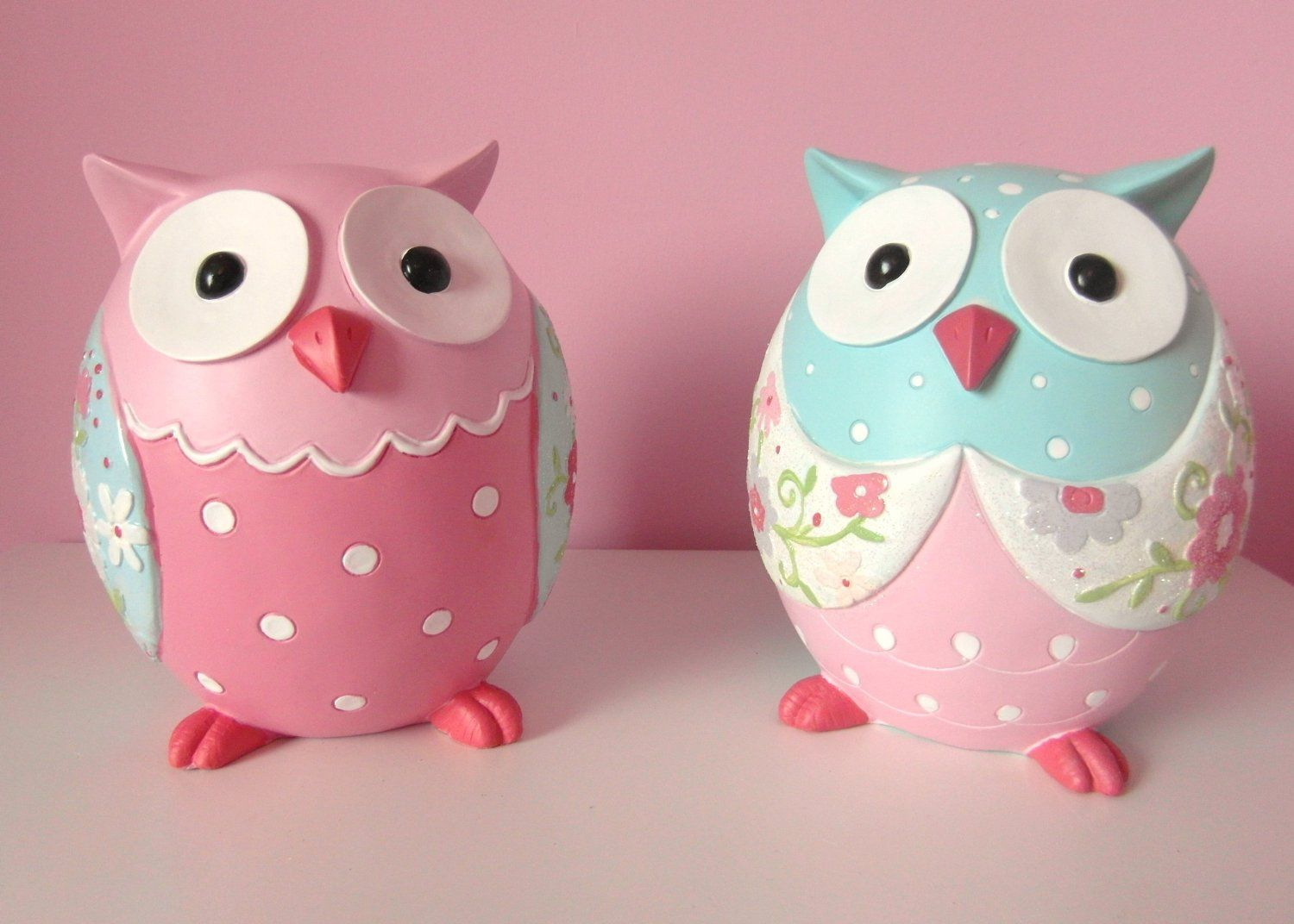 Owl Stuff For The Home Part - 47: Nina - Double OWL Ornaments - Pink U0026 Blue: Amazon.co.uk: