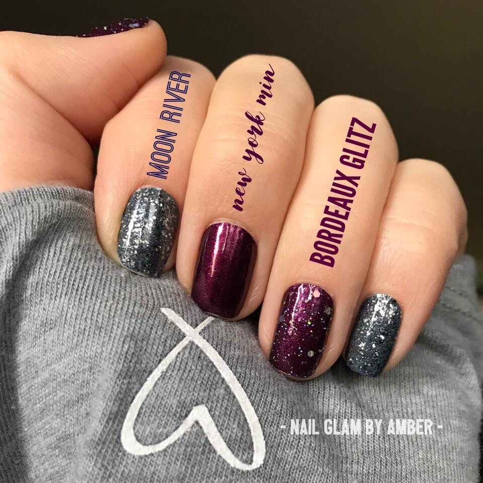 Gorgeous burgundy and silver nails!