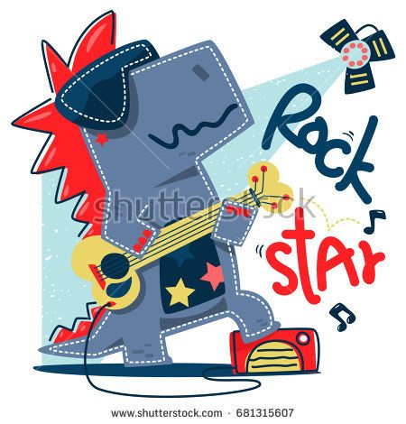 Funny Cartoon T Rex Rock Star Guitar Player Stand On Stage Isolated White Background Illustration Vector Design For Kids Shirt