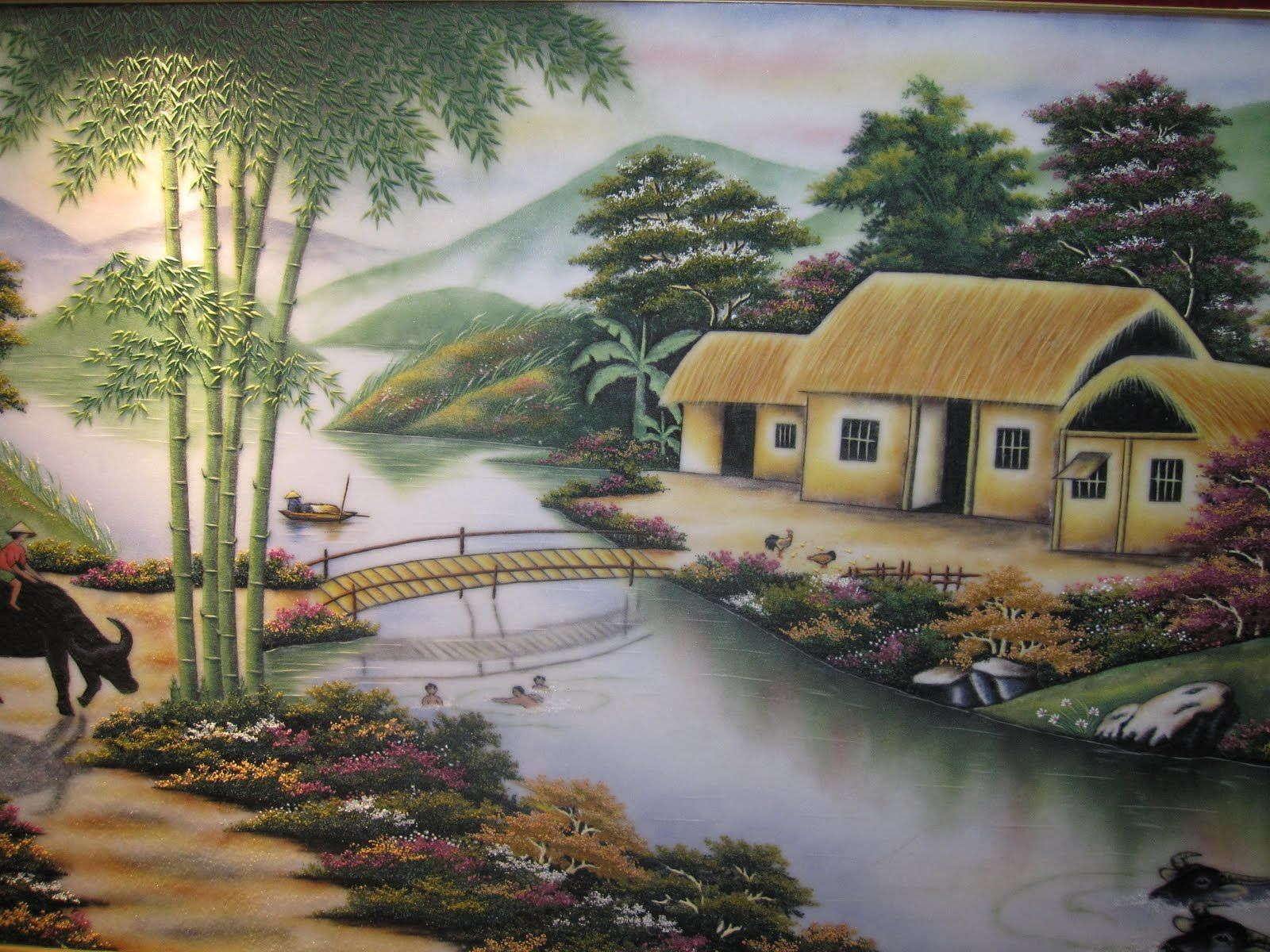 canh dep que huong | Tranh Phong Cảnh Làng Quê Đẹp - SieuThiTranhDep.net