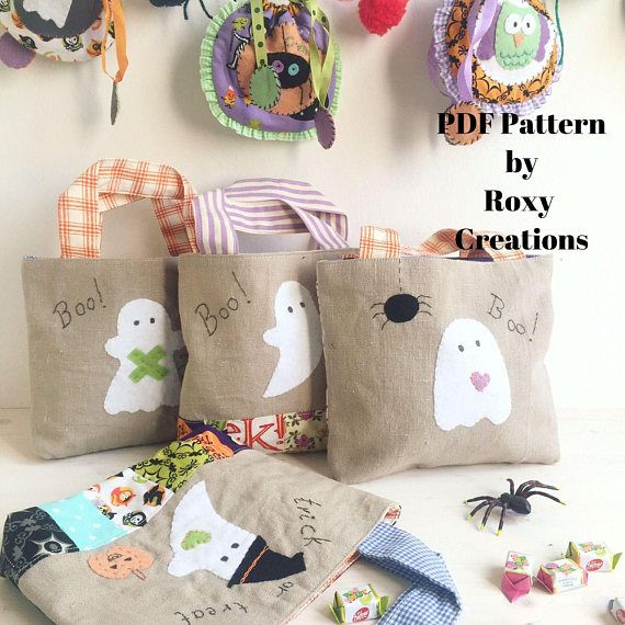 Pdf sewing patterns halloween trick or treat bags pouches - halloween diy ideas