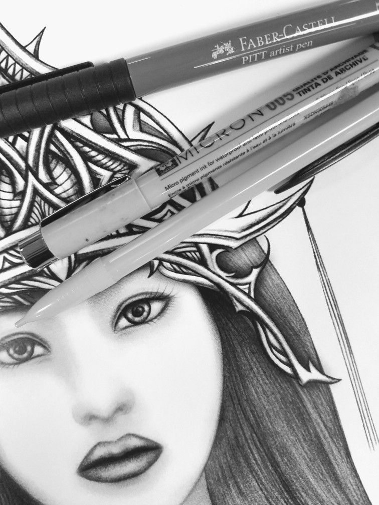 Sun Goddess Japanese Mythology Amaterasu Black And White Pen And