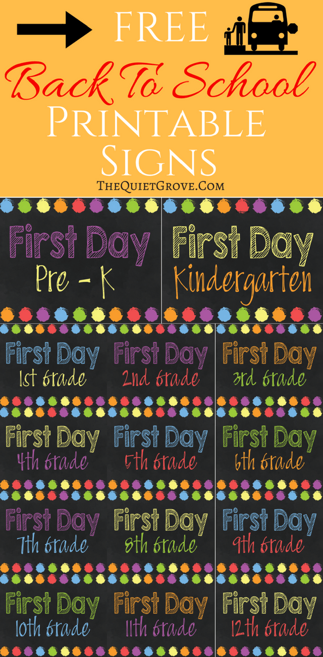 5 Free Back To School Printable Sign Sets Back To School