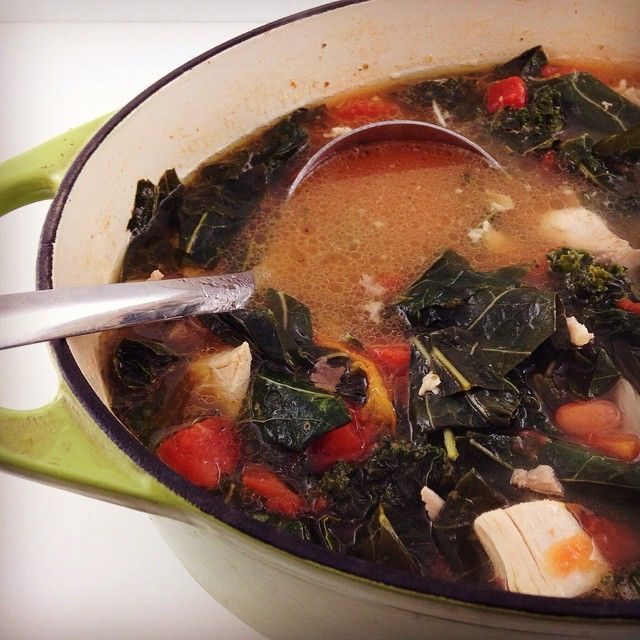 All that summer saving is finally paying off. Tonight I made a chicken soup with some CSA greens and tomatoes I froze throughout the season.