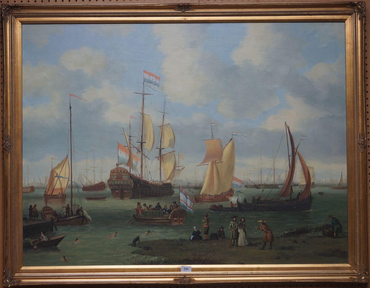 Naar Abraham Storck, olieverf op doek, schepen op het IJ in de 17e eeuw