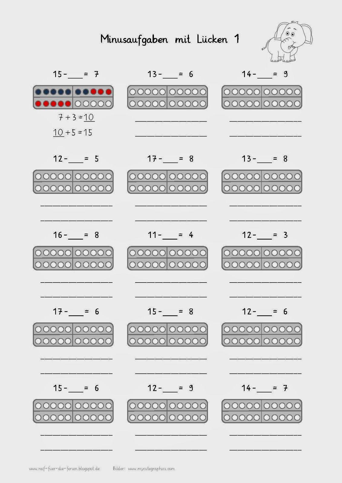 Minusaufgaben mit Lücken - anderer Rechenweg | Mathe Klasse 1 ...
