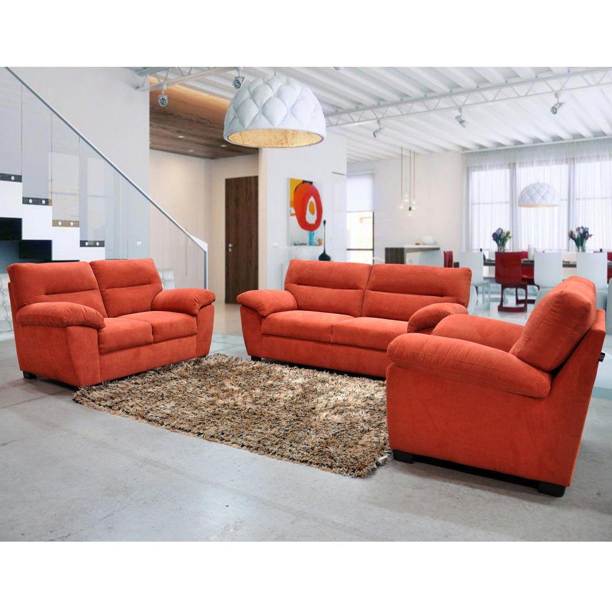 Sala Greco 3-2-1 tapizado en tela terracota | SEARS.COM.MX - Me ...