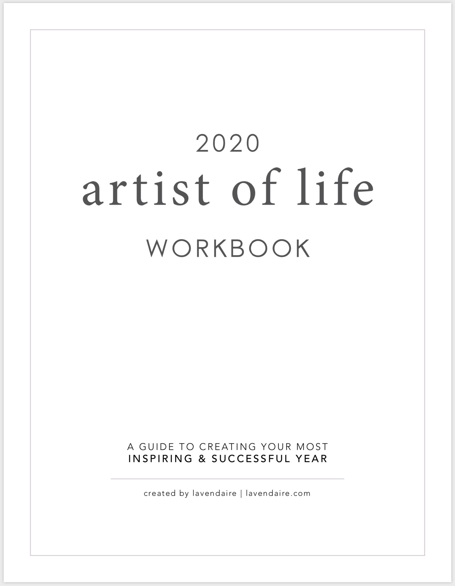 2020 Artist Of Life Workbook Digital The Lavendaire Shop My Life Plan Workbook The Artist S Way