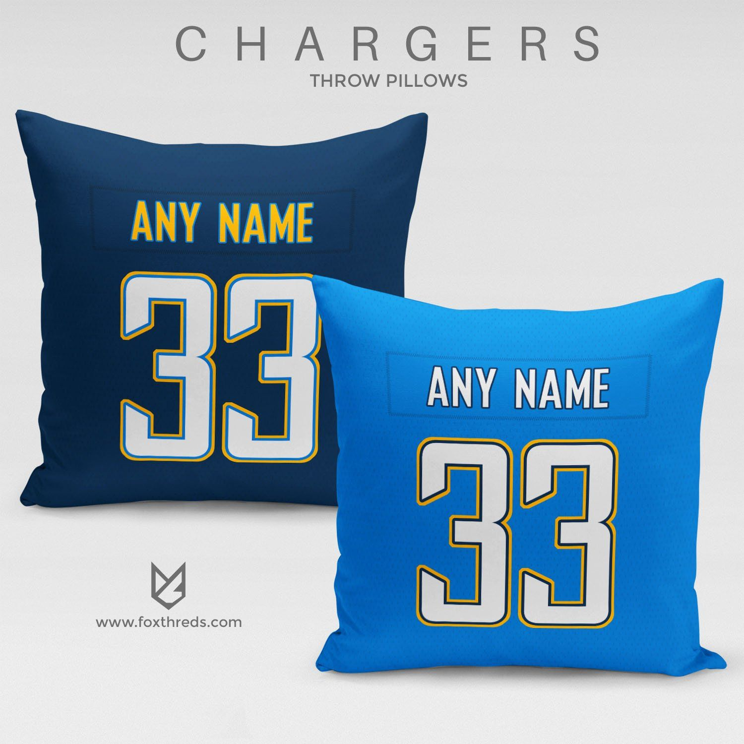 Los Angeles Chargers Pillow Front And Back Personalized Select Any Name Any Number In 2020 Nfl Pillows Personalized Nfl Nfl
