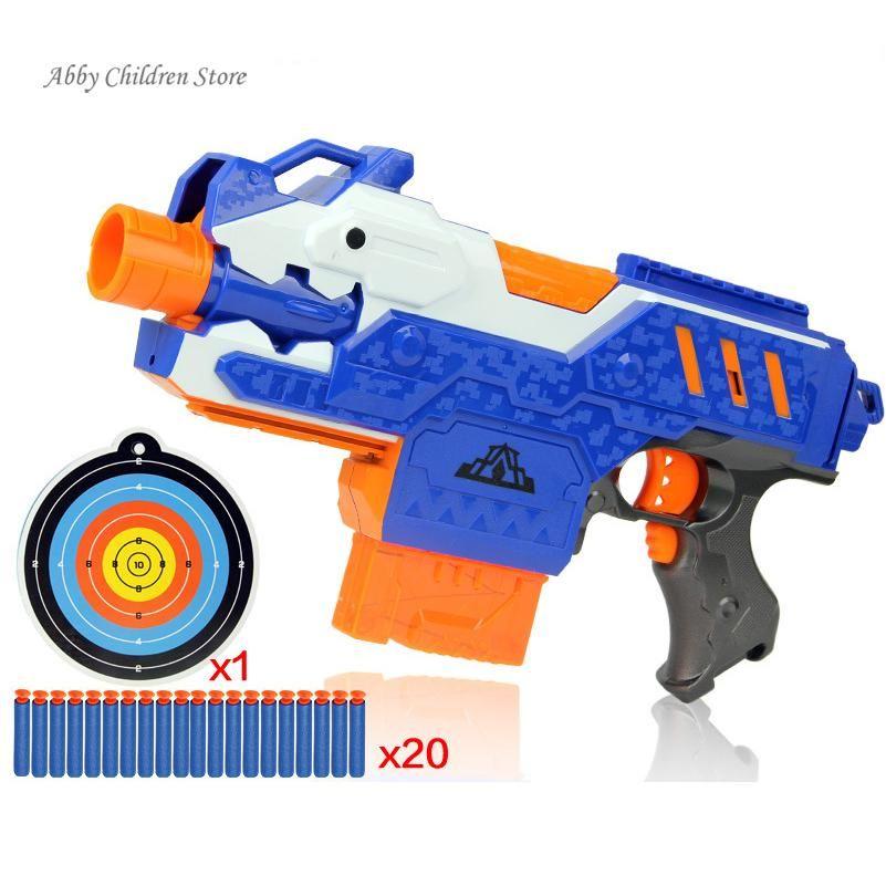 Sniper Rifle Plastic Gun Soft Bullet Toy Gun 20 Bullets 1 Target Electric  Gun Toy Christmas
