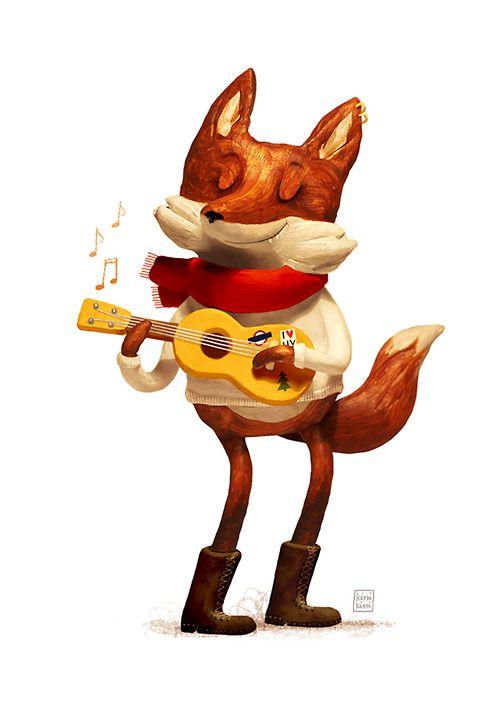 ukuleles unanimous  ukulele art animal illustration