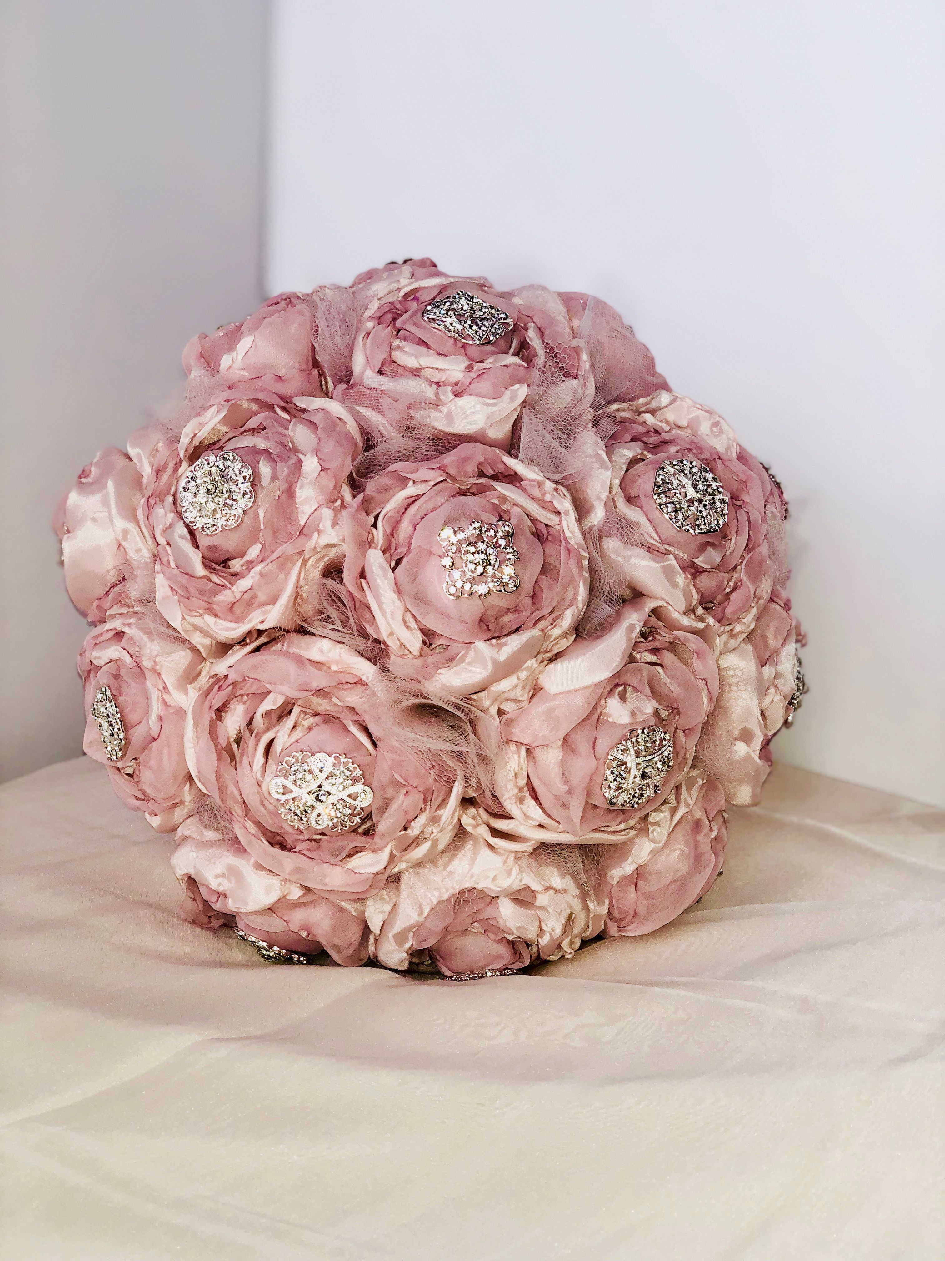 Bridal bouquet, Boho, Vintage inspired, handmade, brooch bouquet ...