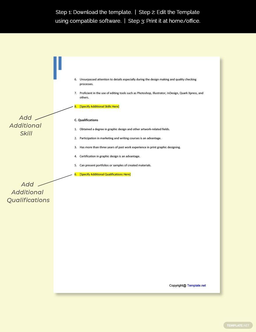Free Print Graphic Designer Job Description Word Google Doc Apple Mac Pages In 2020 Job Description Template Graphic Designer Job Graphic Design Resume