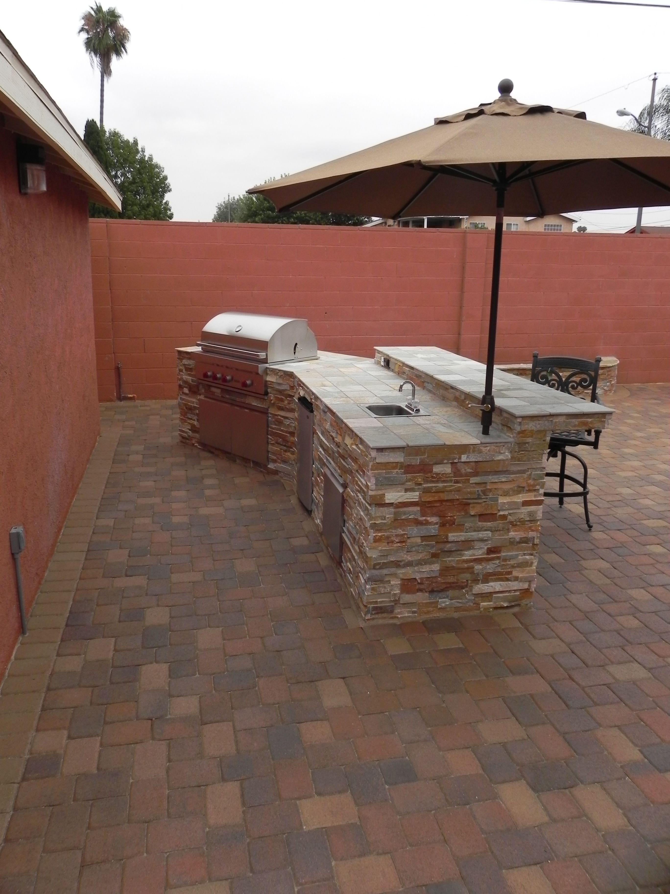 New patio and BBQ island | Outdoor kitchen island, Outdoor ... on Backyard Patio Grill Island id=95141