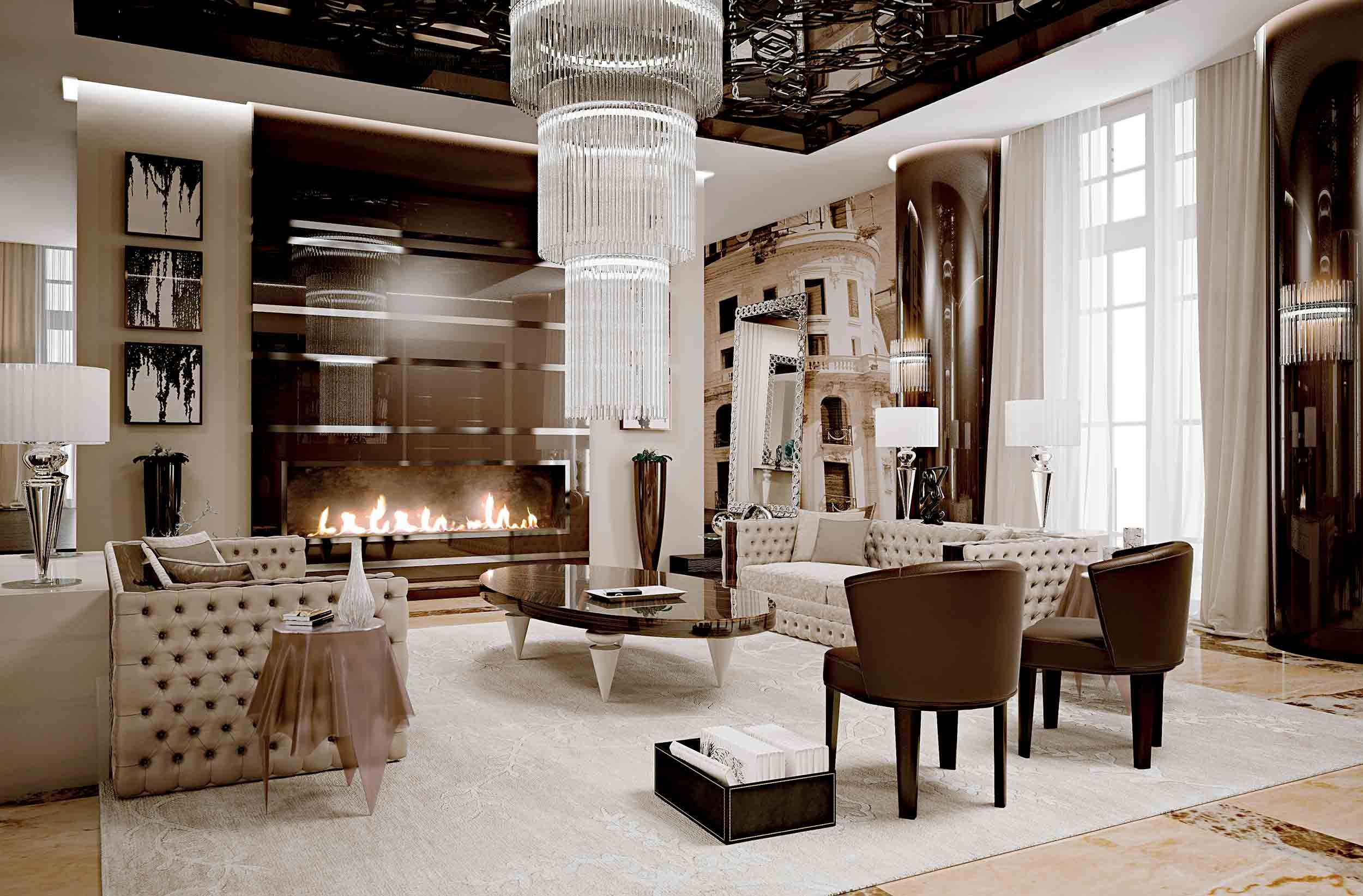 Meubles De Luxe Sejour Contemporain Luxueux Glamour Living Room Glamourous Bedroom Furniture