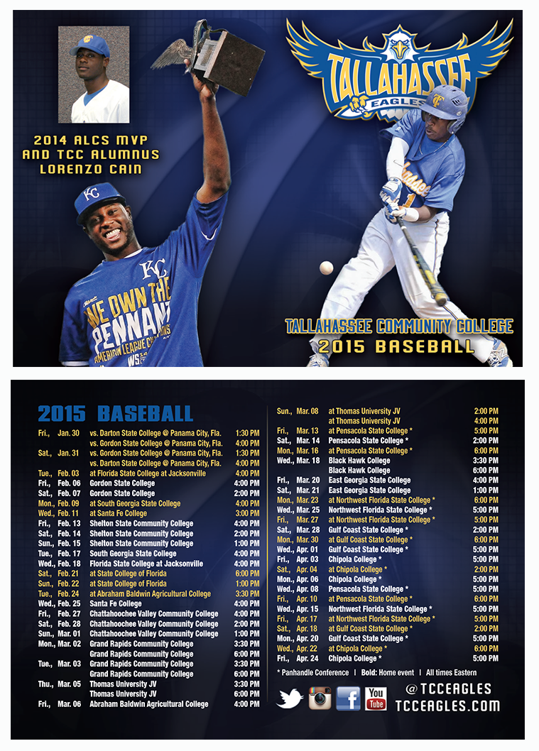 Tallahassee Community College Baseball Schedule Card