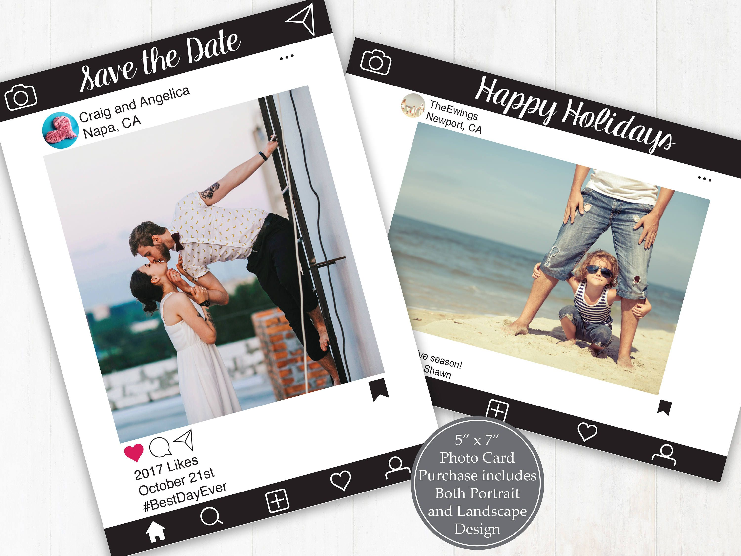 Editable Photo Card Save The Date Invitation Christmas Card Announcement Sip And See Black Instagr Photo Cards Social Media Instagram Social Media Design