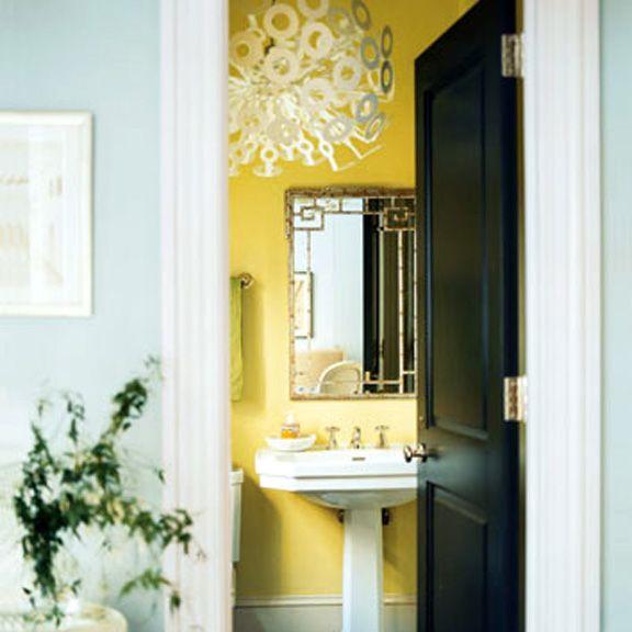 Black White Yellow And Turquoise Bathroom