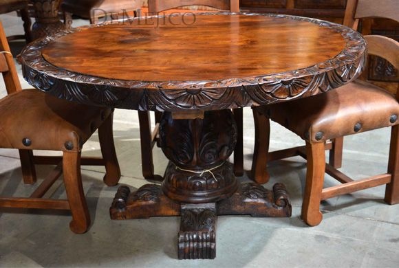 The Brianna Round Wood Dining Table Is Accented By Beautifully Hand Carved  Edges To Compliment