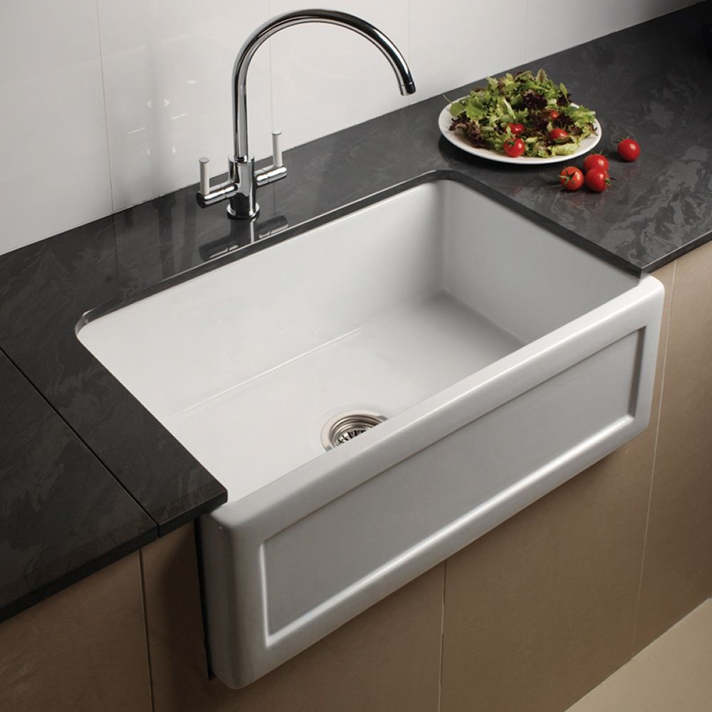 astini belfast 760 1.0 bowl recessed white ceramic kitchen sink
