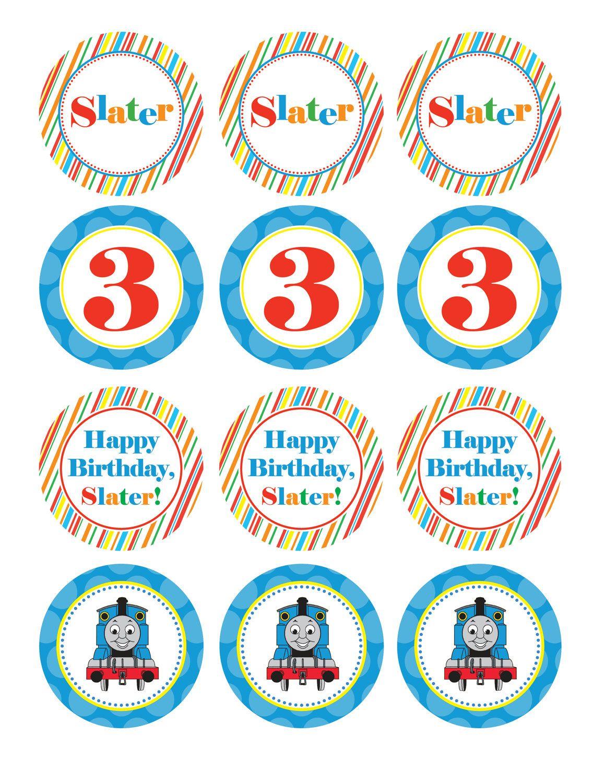 Boy Birthday, Thomas the Train, Custom Cupcake Toppers, Favor Tags ...