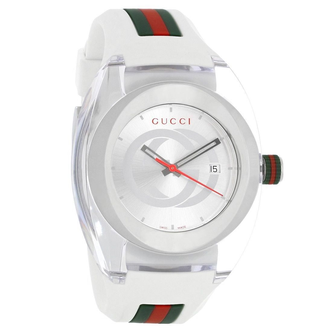 a7ca13c483d Gucci Sync XXL White Green Red Strap Swiss Quartz Watch .
