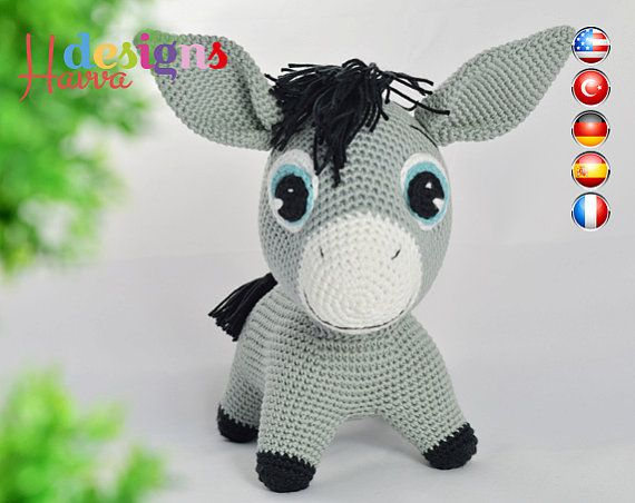 Crochet Pattern - Donkey (Amigurumi Toy Pattern) | Pinterest ...