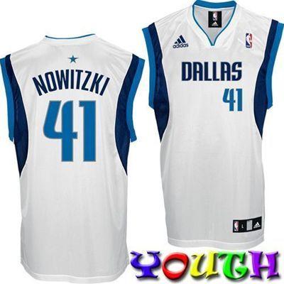 596e5d00013 Dallas Mavericks Dirk Nowitzki #41 Youth Replica Jersey (White ...