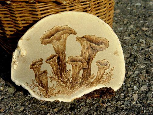 Hand-painted Artist Conk Mushroom Art Hand-Carved Mushroom Yellow Mushrooms