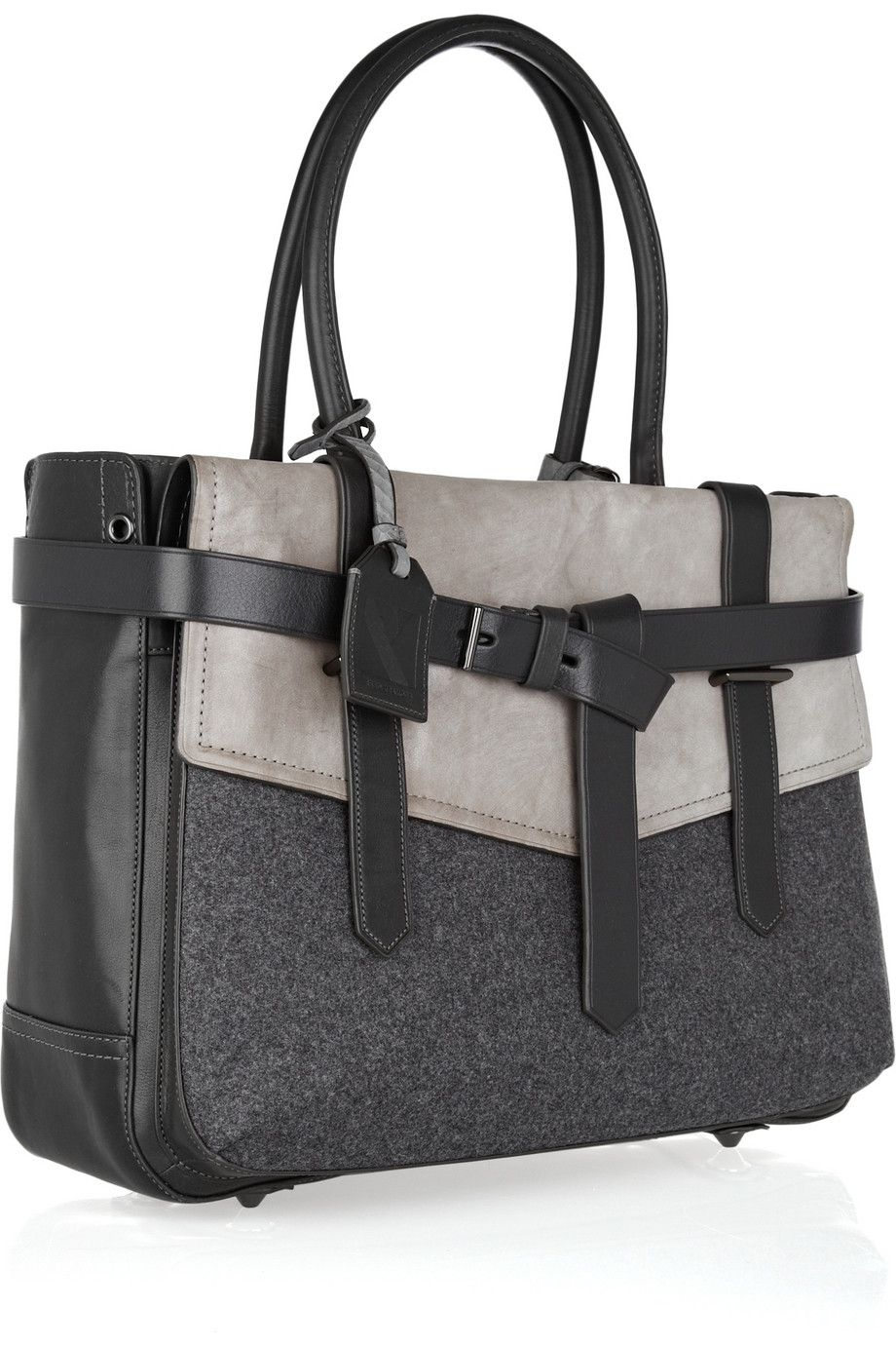 Reed Krakoff Boxer Leather Wool Tote
