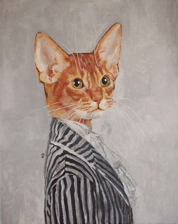 Superbe Peintre Animalier Chat #11: *VENDU* Tableau Peinture Portrait Animalier Chat Animal Humanisé En Costume  : Peintures Par Latelierdesplaces
