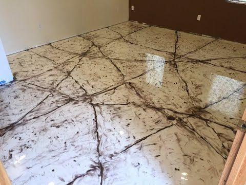 Metallic Epoxy Coating Marble Design Over Wood Sub Floor Tutorial Youtube Aaa Concrete Floor Prep 4 Stain Pinterest Epoxy Marbles And Woods