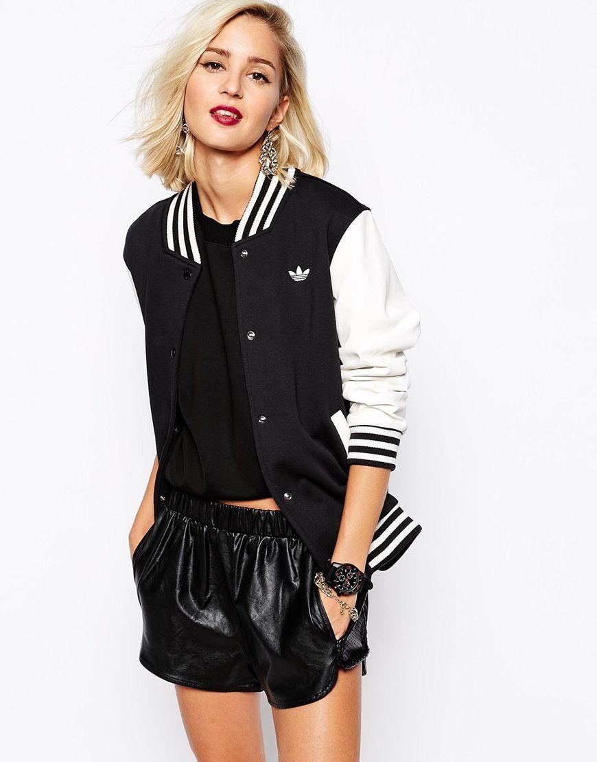 Women's Black Varsity Jacket | Adidas, Clothing and Adidas originals