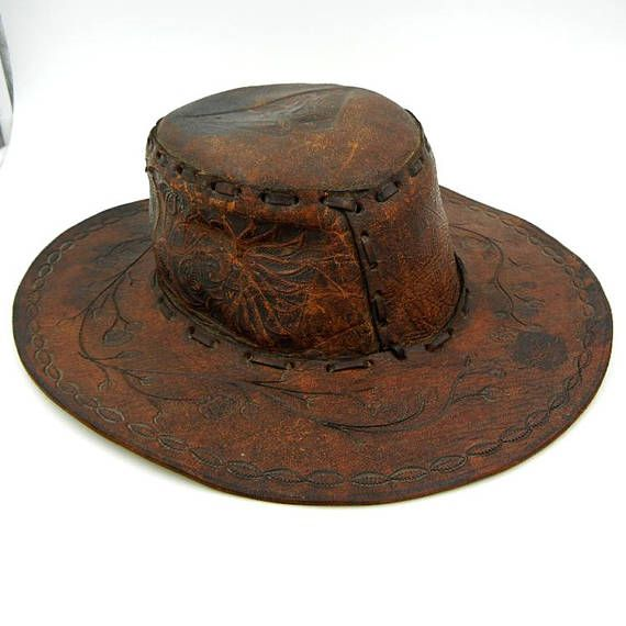 8ebf8044 Vintage Mexican Tooled Leather Cowboy Hat with Horse and Flowers ...