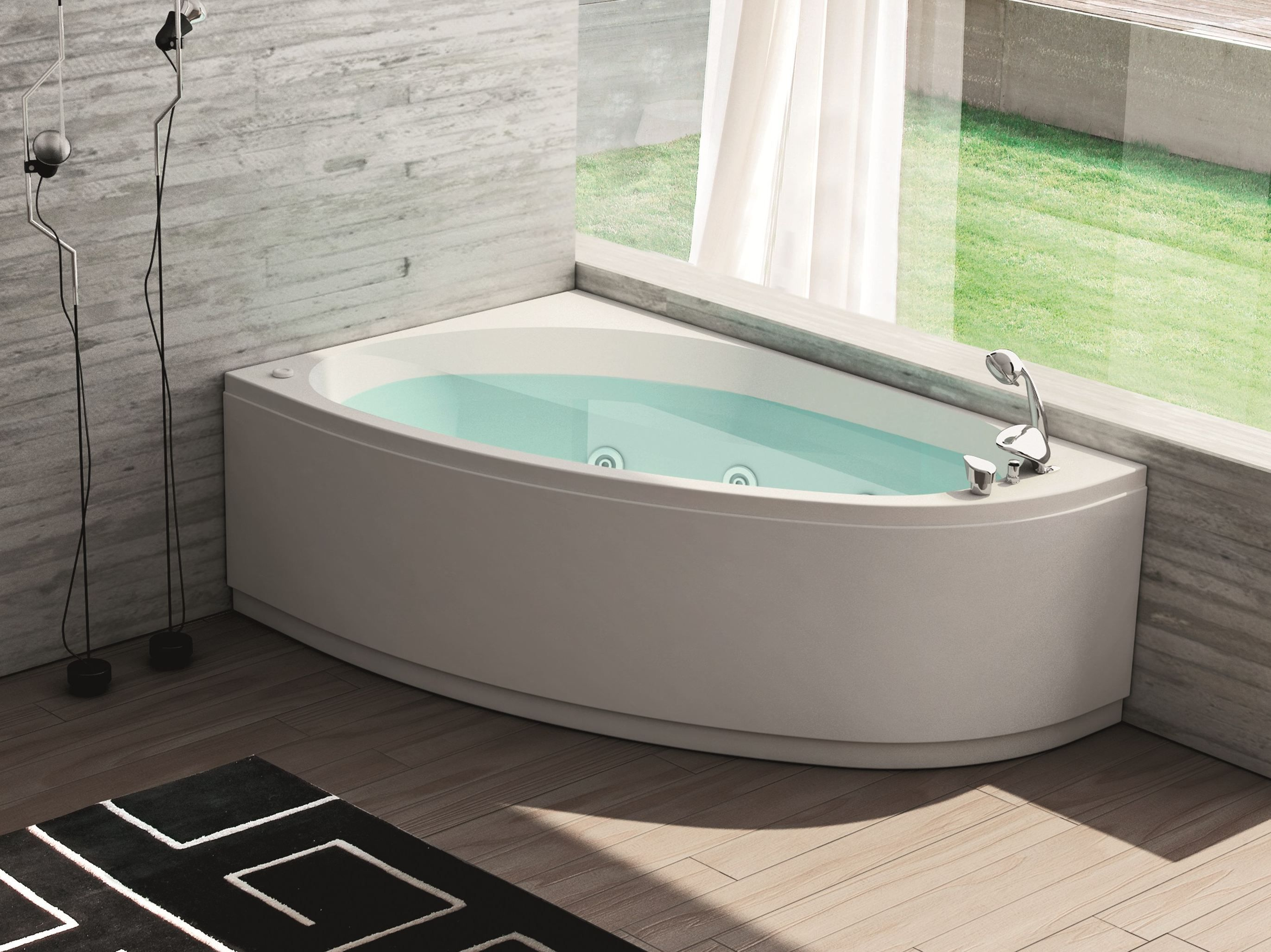 Upgrade Your Bathroom with Whirlpool Tub Modern Floor Lamp And