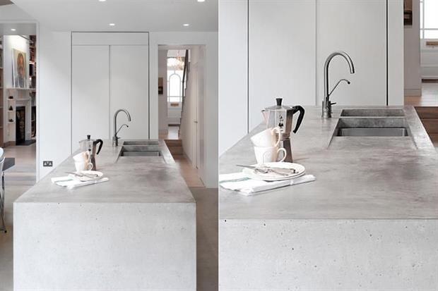Opciones para una isla en la cocina  En cemento alisado, moderna y fácil de limpiar.         Foto:Madaboutthehouse.com
